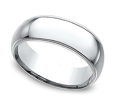 Sterling Silver 7MM Milgrain Unisex Wedding B and Ring