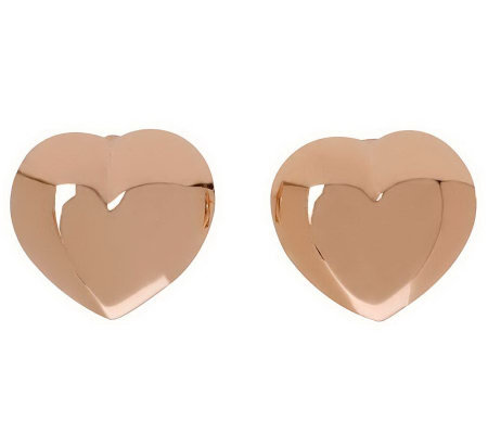 Bronzo Italia Heart-Shaped Button Earrings withOmega Backs