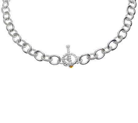 "Judith Ripka ""Astor"" Sterling 24"" Citrine ChainNecklace"