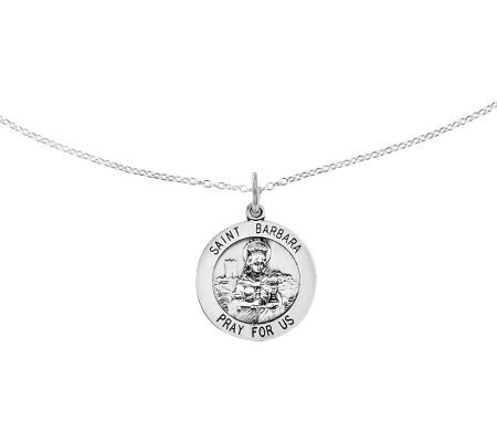 "Sterling Saint Barbara Round Solid Pendant w/ 18"" Chain"