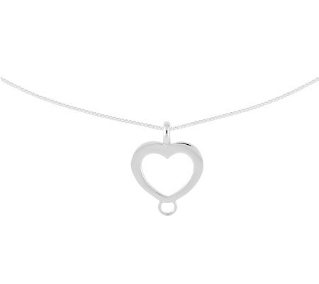 "Amore La Vita Sterling Heart Charm Holder with20"" Chain"