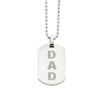 "Forza Men's Stainless Steel 24"" ""DAD"" Brushed Dog Tag Necklac - J313834"