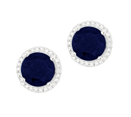 Sterling Sapphire 1/8 ct tw Diamond Halo Stud Earrings