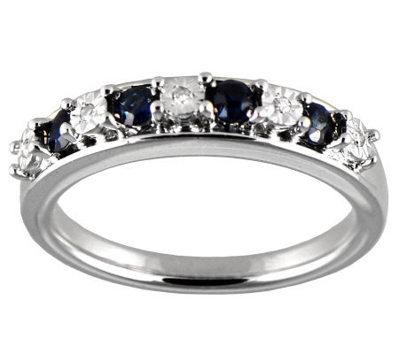 Blue Sapphire & Diamond Accent Band Ring, Sterling