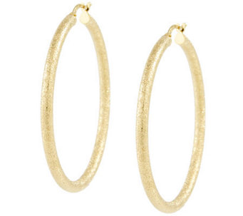 "Veronese Sterling & 18K Clad 1-3/4"" Textured Hoop Earrings - J315634"