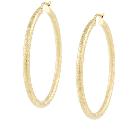 "Veronese Sterling & 18K Clad 1-3/4"" Textured Hoop Earrings"