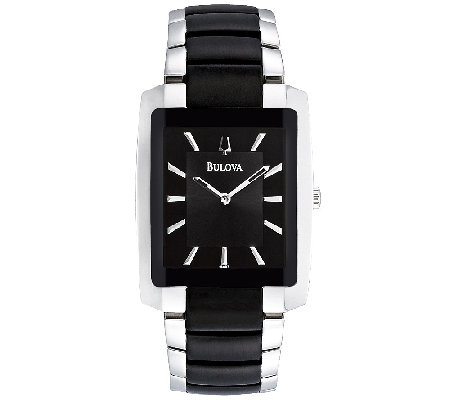 Bulova Men's Stainless Steel and Black BraceletWatch