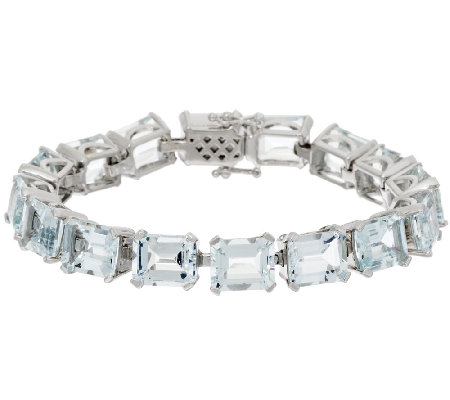 "Emerald Cut Aquamarine Sterling 6-3/4"" Tennis Bracelet 38.00 ct tw"