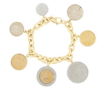 """As Is"" Veronese 18K Clad 6-3/4"" Lire Coin Charm Rolo Bracelet - J319334"