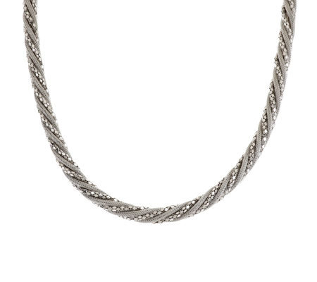 """As Is"" Italian Silver Sterling 18"" Wrapped Mesh Design Necklace"