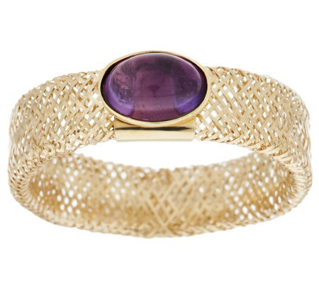 """As Is"" 14K Gold Oval Cabochon Gemstone Mesh Stretch Ring"