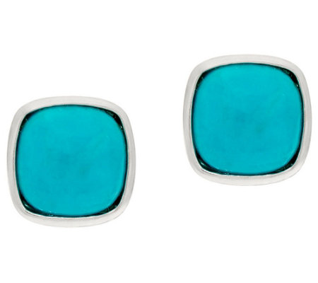 Turquoise Sterling Silver Oval or Cushion Shape Stud Earrings