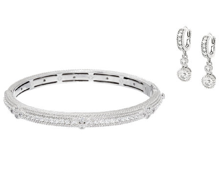 Judith Ripka Sterling Diamonique Hinged Bangle & Drop Earring