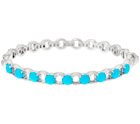 Sleeping Beauty Turquoise Sterling Status Link Hinged Bangle Bracelet