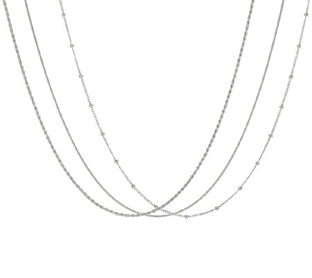 "Italian Silver Sterling 18"" Set of Three Chains, 7.5g"
