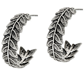 "Sterling Silver 3/4"" Leaf Design Hoop Earrings by Or Paz - J324134"