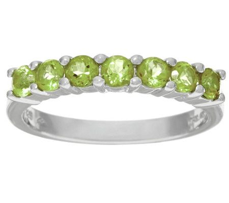 Gemstone Sterling Silver 7-Stone Band Ring 0.55 cttw