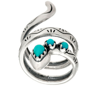 Turquoise Sterling Silver Snake Ring by American West - J326034