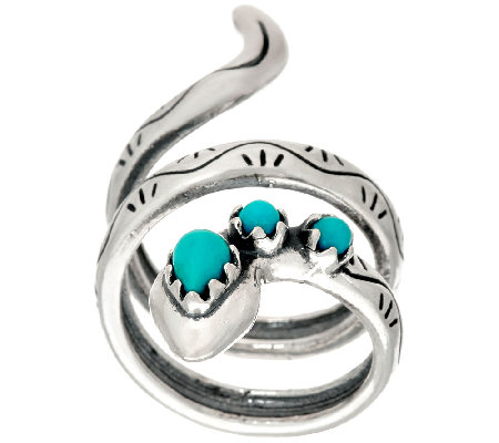 American West Turquoise Sterling Silver Snake Ring