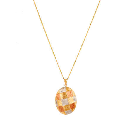 """As Is"" Tri-Color Oval Basket Weave Pendant w/ 18"" Chain, 14K Gold"