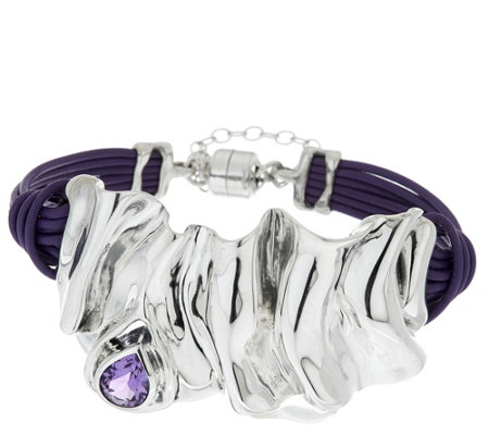 Hagit Sterling Silver Folds Leather 0.9 ct Gemstone Bracelet