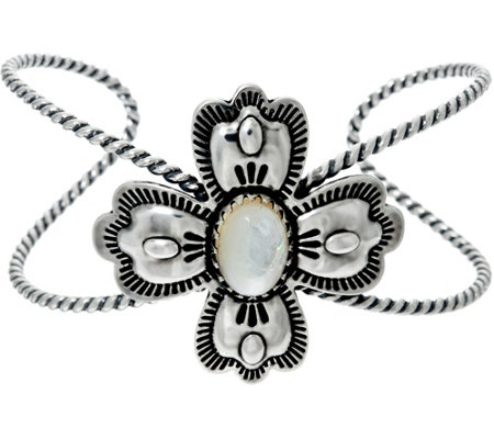 Sterling Silver Mother-of-Pearl Cross Cuff by American West