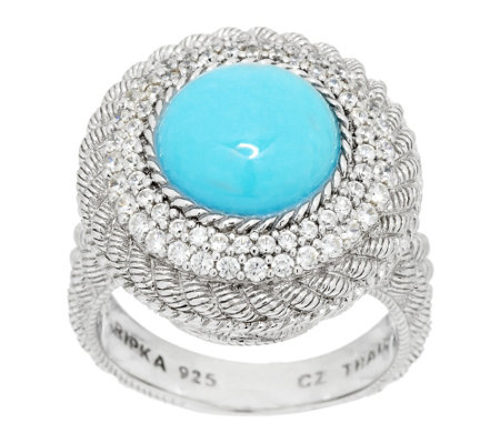 """As Is"" Judith Ripka Sterling & Diamonique Turquoise Cabochon Ring"