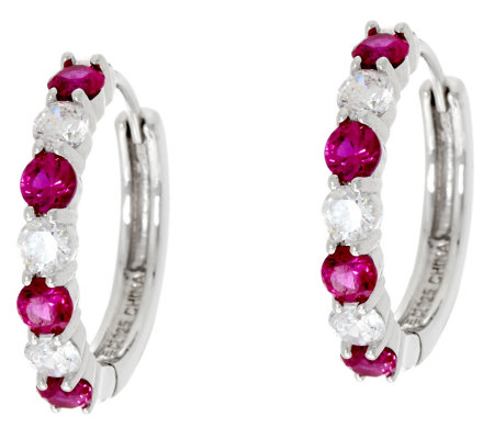 Diamonique & Simulated Gemstone Hinged Hoop Earrings, Sterling