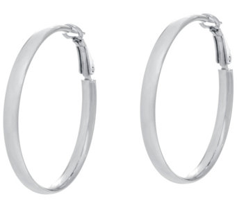 "Sterling Silver 1-1/2"" Omega Back Hoop Earrings by Silver Style - J331334"