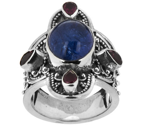 """As Is"" Artisan Crafted 5.70cttw Gemstone Sterling Ring"