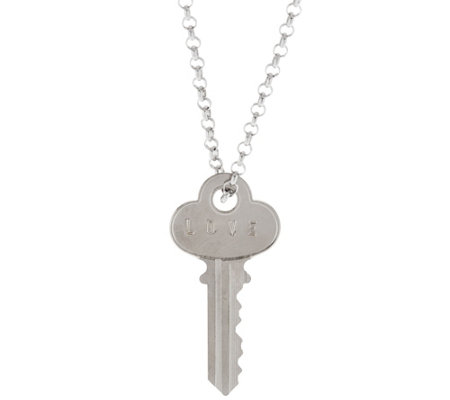 "the Giving Keys Silvertone 'LOVE' Key Pendant with 30"" Rolo Chain"