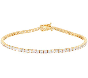 """As Is"" Diamonique 14K Gold Round Tennis Bracelet Average - J335234"