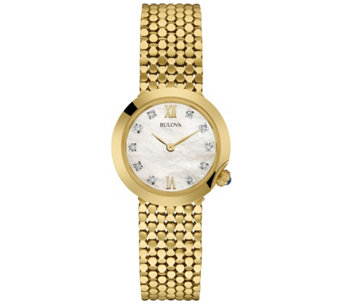 Bulova Ladies' Goldtone Stainless Steel Diamond Accent Watch - J335834