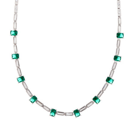 Grace Kelly Collection Simulated Emerald Tennis Necklace