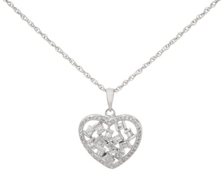 Baguette & Round Diamond Heart Pendant Sterling by Affinity