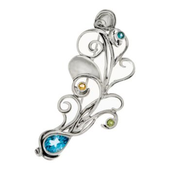 Hagit Sterling Silver Multi-Gemstone Peacock Feather Pin