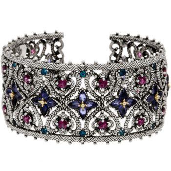 Barbara Bixby Sterling & 18K 12.50 cttw Multi-Gemstone Wide Cuff