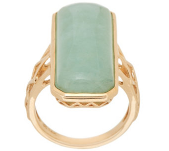 burmese jade elongated cocktail ring 14k gold j349934