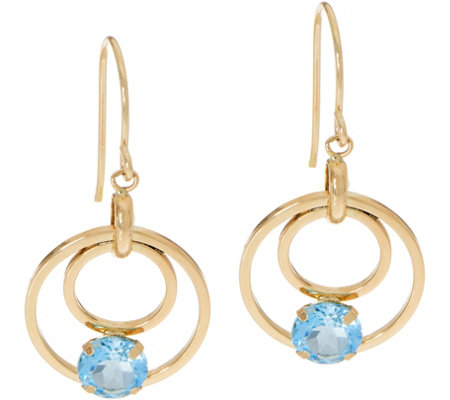 Semi-Precious Gemstone Dangle Earrings 14K Gold
