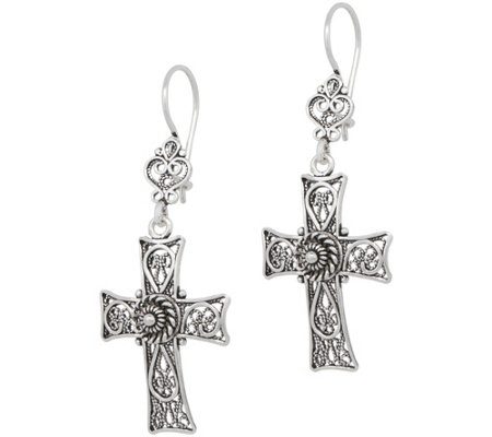 Artisan Crafted Sterling Telkari Filigree Cross Earrings