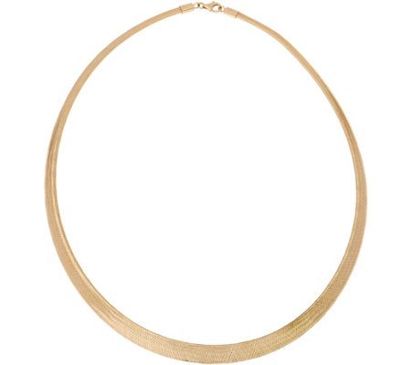 """As Is"" Italian Gold 18"" Graduated Mesh Omega Necklace 14K Gold"