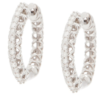 """As Is"" White Diamond Huggie Hoops, 1/5 cttw Sterling, by Affinity"