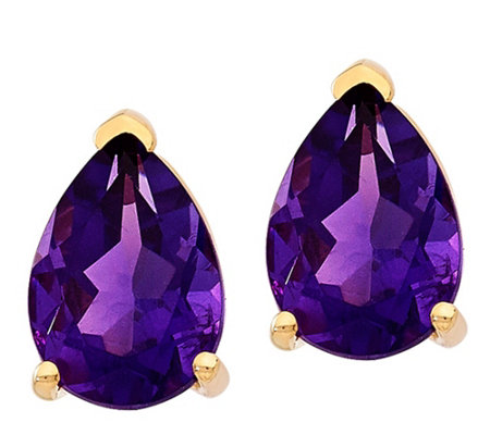 14K Pear-Shaped Gemstone Post Earrings