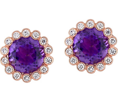 14K 2.50 cttw Amethyst & 1/4 cttw Diamond HaloStud Earrings