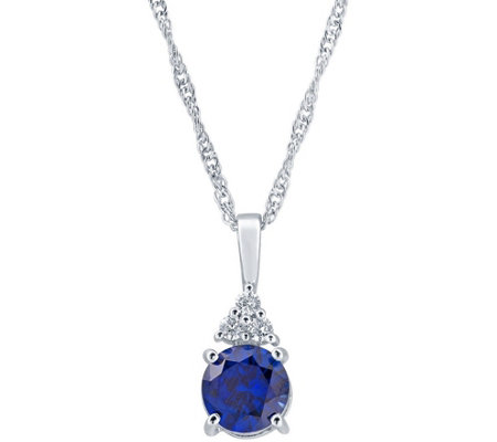 Sterling Silver 7mm Round Simulated Gemstone Pendant w/ Chain