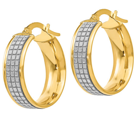 Italian Gold Textured Glimmer Hoop Earrings, 14K