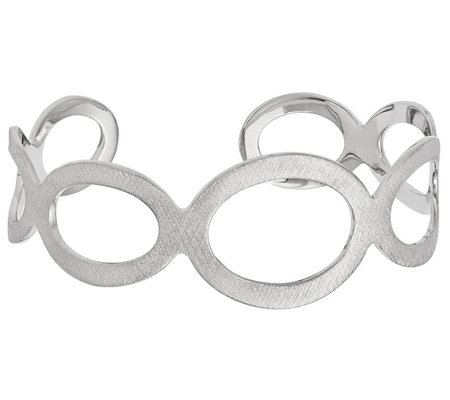 Italian Silver Brushed Oval Cuff, 18.5g