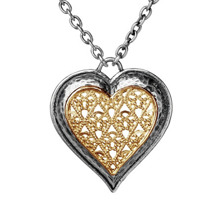 "Or Paz Sterling Two-Tone 17"" Filigree Heart Necklace"
