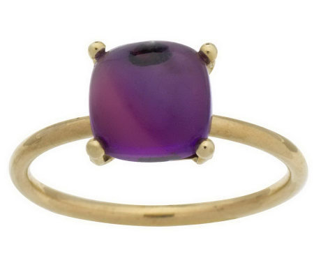 """As Is"" Cushion Shaped Gemstone Cabochon Stack Ring, 14K Gold"