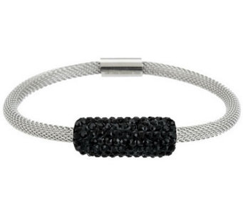 Stainless Steel Mesh Bracelet with Crystal Accent - J282135